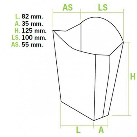 Caja Blanca para Fritas Mediana 8,2x4,2x12,5cm (25 Uds)