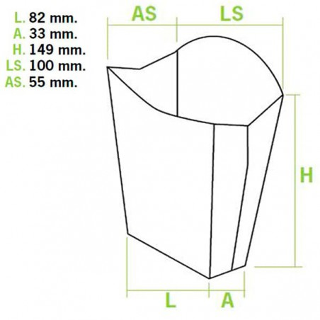 Caja Kraft para Fritas Grande 8,2x4,2x14,9cm (400 Uds)