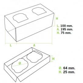 Caja 2 Cupcakes con Soporte 19,5x10x7,5cm Azul (20 Uds)