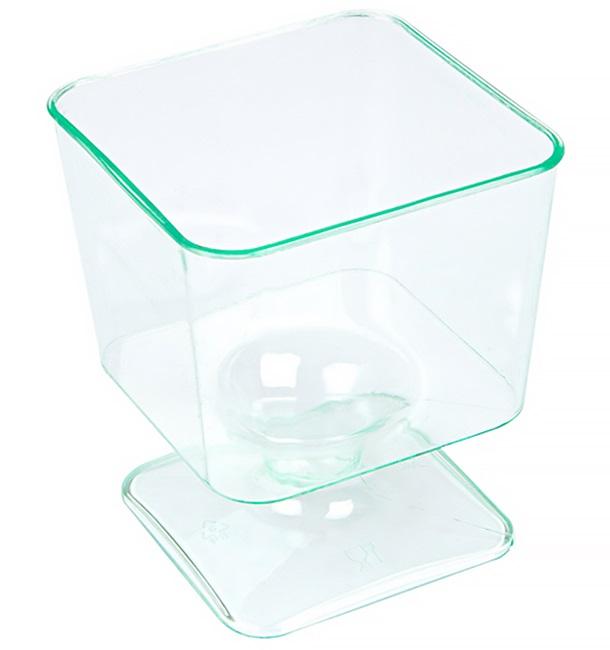 Copa de Plastico Cuadrada Verde Transp. con Pie 60 ml (12 Uds)